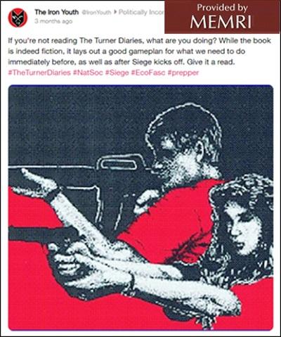 Rys. 3: Organizacja Iron Youth zamieściła wizerunek uzbrojonych, białych, mężczyzny i kobiety, zalecałaThe Turner DiariesiSeige, stwierdzając, żeThe Turner Diaries\