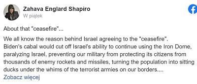 """O tym """"zawieszeniu broni""""…<br />Wszyscy znamy powody, dla których Izrael zgodził się na """"zawieszenie broni"""". <br />Klika Bidena odcięłaby możliwość używania Żelaznej Kopuły, paraliżując Izrael, uniemożliwiając naszej armii obronę obywateli przed tysiącami rakiet i pocisków wroga, zamieniając społeczeństwo w łatwy cel na łasce terrorystycznych armii u naszych granic. <br />Demokraci w praktyce pracują w synchronizacji z Hamasem przeciwko Izraelowi. Absolutnie nie ma innego sposobu patrzenia na to. Ktokolwiek nadal uważa, że USA są prawdziwym sojusznikiem Izraela, znajduje się w poważnym stanie ułudy.<br />Te dni minęły. Są skończone. Jest niemal śmieszne jak zagorzali amerykańsko-żydowscy zwolennicy Bidena (szczególnie ci, którzy twierdzą że popierają Izrael) czepiają się jego słabiutkiego oświadczenia, że """"Izrael ma prawo bronić się"""", a równocześnie grozi naszemu premierowi wstrzymaniem tych właśnie środków, którymi się bronimy.<br />Uwaga: nie potrzebujemy, by jakikolwiek kraj mówił nam, że mamy prawo bronić się. Co za absurdalne oświadczenia. Czy ktokolwiek kwestionuje prawo jakiegokolwiek innego kraju do bronienia się, kiedy jest atakowany? Dość tego nonsensu. Izrael nie musi być nikomu """"wdzięczny"""" za takie zapewnienia.<br />W świetle działań USA przeciwko Izraelowi, co jest nie do zaakceptowania ze strony domniemanego sojusznika, Izrael musi planować swoją przyszłość biorąc to pod uwagę.<br />Musi przestawić zmienne w równaniu i uwolnić się od roli ofiary taktyki silnej ręki.<br />Z całą pewnością przyjdzie następna runda ze strony Hamasu, jak również Hezbollahu. Iran nauczył się cennej lekcji ze swojego najnowszego, zastępczego ataku na Izrael.<br />Mają poparcie Bidena. Otrzymają więcej funduszy w podsypanej dolarami umowie nuklearnej, która przynosi korzyści tylko im.<br />Mają poparcie wielu izraelskich Arabów, którzy jawnie poparli Hamas na ulicach Israela w tej najnowszej wojnie.<br />Planują następne posunięcie przeciwko Izraelowi i Izrael musi być przygo"""