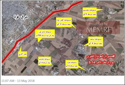 Mapa pokazująca odległości do izraelskich społeczności w pobliżu granicy Gazy