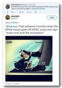 """Ten niewygodny moment, kiedy Biały Dom odchodzi od scenariusza AIPAC [American Israel Public Affairs Committee] i mówi """"Izrael musi zakończyć okupację""""."""