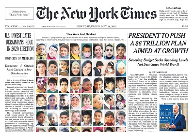 Front page of theNew York Times, 28 May 2021