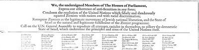 [My, podpisani członkowie Izb Parlamentu, Wyrażamy naszą odrazę do antysemityzmu w każdej postaci; Potępiamy rezolucję Narodów Zjednoczonych, która fałszywie i oszczerczo zrównała syjonizm z rasizmem i z rasową dyskryminacją; Uznajemy syjonizm za prawomocny ruch żydowskiego wyzwolenia narodowego, a państwo Izrael za naturalne i prawomocne wypełnienie syjonistycznego programu; Wzywamy Zgromadzenie Ogólne ONZ do odrzucenia wszystkich prób, rasistowskich samych w sobie, piętnowania państwa Izrael, co podważa zasady i cele samych Narodów Zjednoczonych.]