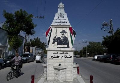 Pomnik irackiego dyktatora Saddama Husajna w Kalkilja, palestyńskie terytoria, 2017 r.