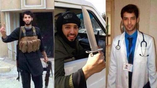 Al Anzi z pasem samobójcy, z nożem używanym przez ISIS i starsze zdjęcie, kiedy pracował jako lekarz.