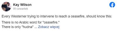 """Każdy człowiek z Zachodu, który próbuje interweniować, by osiągnąć zawieszenie broni, powinien wiedzieć, że:Nie ma arabskiego słowa na """"zawieszenie broni"""".<br />Jest tylko """"hudna""""Dżihadysci zgadzają się na """"hudna"""" (ahem *zawieszenie broni) w pewnych sytuacjach, by zyskać czas na ponowne uzbrojenie się przeciwko""""Kufar"""" (heretykom, wrogom). Zgadzają się na hudna, żeby móc się ponownie uzbroić aż poczują się silniejsi, niezależnie od tego, jak dużo czasu może to zabrać. Hudna w historii zawsze były zawierane bez bezpośrednich negocjacji z wrogiem – tak samo, jak dzieje się teraz.Od 20 lat jesteśmy pod nieustannymi atakami Hamasu mimo że NIE MA ANI JEDNEGO Żyda w Gazie. Kiedy był przejściowy spokój, to dlatego, że była to hudna,Hudna nie jest i nigdy nie była krokiem ku pokojowi."""