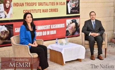 Rzeczniczka praw obywatelskich Azerbejdżanu, Sabina Alijewa przemawia w Baku podczas imprezy o Kaszmirze